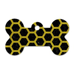 Hexagon2 Black Marble & Yellow Leather (r) Dog Tag Bone (one Side) by trendistuff