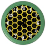 HEXAGON2 BLACK MARBLE & YELLOW LEATHER (R) Color Wall Clocks