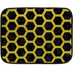 Hexagon2 Black Marble & Yellow Leather (r) Double Sided Fleece Blanket (mini)  by trendistuff