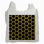 HEXAGON2 BLACK MARBLE & YELLOW LEATHER (R) Recycle Bag (One Side)