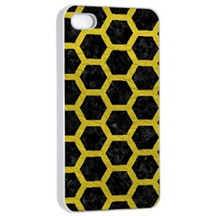 Hexagon2 Black Marble & Yellow Leather (r) Apple Iphone 4/4s Seamless Case (white) by trendistuff