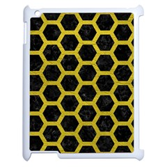 Hexagon2 Black Marble & Yellow Leather (r) Apple Ipad 2 Case (white) by trendistuff