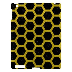 Hexagon2 Black Marble & Yellow Leather (r) Apple Ipad 3/4 Hardshell Case by trendistuff