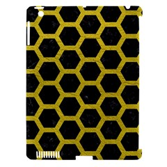Hexagon2 Black Marble & Yellow Leather (r) Apple Ipad 3/4 Hardshell Case (compatible With Smart Cover) by trendistuff