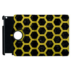 Hexagon2 Black Marble & Yellow Leather (r) Apple Ipad 2 Flip 360 Case by trendistuff