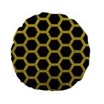HEXAGON2 BLACK MARBLE & YELLOW LEATHER (R) Standard 15  Premium Round Cushions