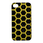 HEXAGON2 BLACK MARBLE & YELLOW LEATHER (R) Apple iPhone 4/4S Hardshell Case with Stand