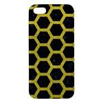 HEXAGON2 BLACK MARBLE & YELLOW LEATHER (R) iPhone 5S/ SE Premium Hardshell Case