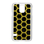 HEXAGON2 BLACK MARBLE & YELLOW LEATHER (R) Samsung Galaxy S5 Case (White)