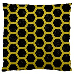 Hexagon2 Black Marble & Yellow Leather (r) Large Flano Cushion Case (two Sides) by trendistuff