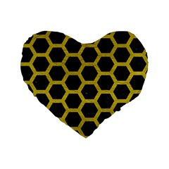 Hexagon2 Black Marble & Yellow Leather (r) Standard 16  Premium Flano Heart Shape Cushions by trendistuff