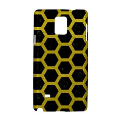 Hexagon2 Black Marble & Yellow Leather (r) Samsung Galaxy Note 4 Hardshell Case by trendistuff