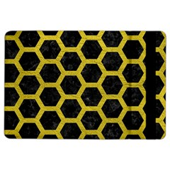Hexagon2 Black Marble & Yellow Leather (r) Ipad Air 2 Flip by trendistuff