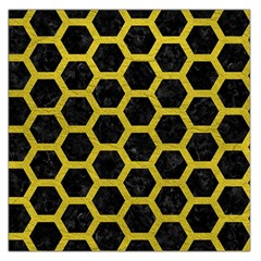 Hexagon2 Black Marble & Yellow Leather (r) Large Satin Scarf (square) by trendistuff