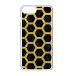 HEXAGON2 BLACK MARBLE & YELLOW LEATHER (R) Apple iPhone 7 Plus Seamless Case (White)