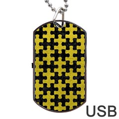 Puzzle1 Black Marble & Yellow Leather Dog Tag Usb Flash (two Sides) by trendistuff