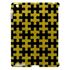 Puzzle1 Black Marble & Yellow Leather Apple Ipad 3/4 Hardshell Case (compatible With Smart Cover)