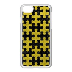 Puzzle1 Black Marble & Yellow Leather Apple Iphone 8 Seamless Case (white)