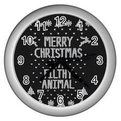 Ugly Christmas Sweater Wall Clocks (silver)  by Valentinaart