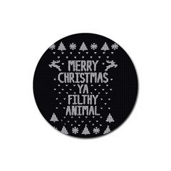 Ugly Christmas Sweater Rubber Round Coaster (4 Pack)  by Valentinaart