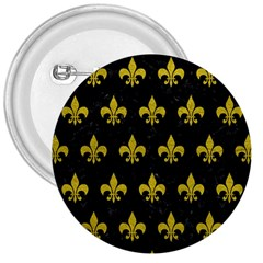Royal1 Black Marble & Yellow Leather 3  Buttons by trendistuff