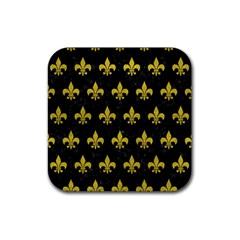 Royal1 Black Marble & Yellow Leather Rubber Coaster (square)  by trendistuff