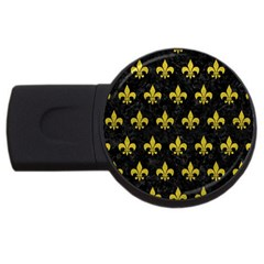 Royal1 Black Marble & Yellow Leather Usb Flash Drive Round (2 Gb) by trendistuff