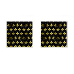 Royal1 Black Marble & Yellow Leather Cufflinks (square) by trendistuff