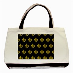 Royal1 Black Marble & Yellow Leather Basic Tote Bag by trendistuff