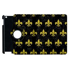 Royal1 Black Marble & Yellow Leather Apple Ipad 3/4 Flip 360 Case by trendistuff