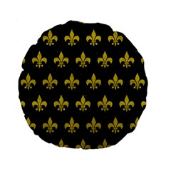 Royal1 Black Marble & Yellow Leather Standard 15  Premium Flano Round Cushions by trendistuff