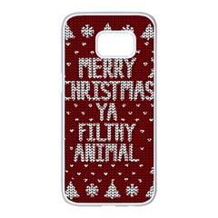 Ugly Christmas Sweater Samsung Galaxy S7 Edge White Seamless Case by Valentinaart