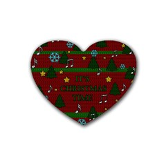 Ugly Christmas Sweater Heart Coaster (4 Pack)  by Valentinaart