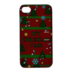 Ugly Christmas Sweater Apple Iphone 4/4s Hardshell Case With Stand by Valentinaart