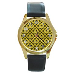 Scales1 Black Marble & Yellow Leather Round Gold Metal Watch by trendistuff