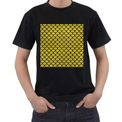 Scales1 Black Marble & Yellow Leather Men s T Shirt (black) (two Sided)