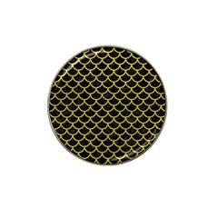 Scales1 Black Marble & Yellow Leather (r) Hat Clip Ball Marker by trendistuff