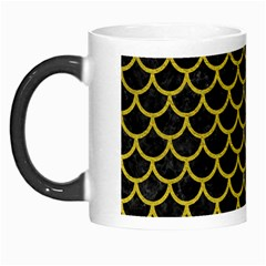 Scales1 Black Marble & Yellow Leather (r) Morph Mugs by trendistuff