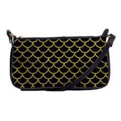 Scales1 Black Marble & Yellow Leather (r) Shoulder Clutch Bags by trendistuff