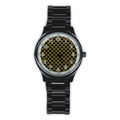 Scales1 Black Marble & Yellow Leather (r) Stainless Steel Round Watch by trendistuff
