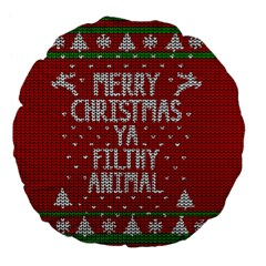 Ugly Christmas Sweater Large 18  Premium Flano Round Cushions by Valentinaart