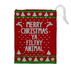 Ugly Christmas Sweater Drawstring Pouches (extra Large) by Valentinaart