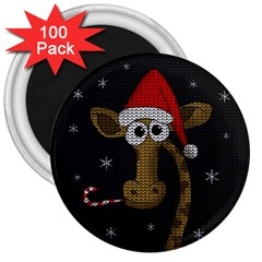Christmas Giraffe  3  Magnets (100 Pack) by Valentinaart