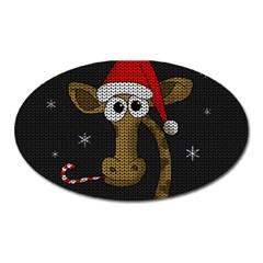 Christmas Giraffe  Oval Magnet by Valentinaart