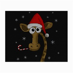 Christmas Giraffe  Small Glasses Cloth (2 Side) by Valentinaart