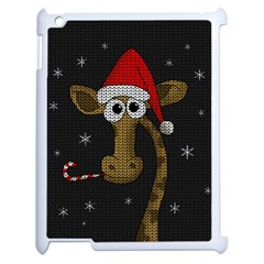 Christmas Giraffe  Apple Ipad 2 Case (white) by Valentinaart