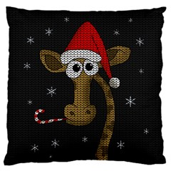 Christmas Giraffe  Large Cushion Case (two Sides) by Valentinaart