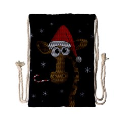 Christmas Giraffe  Drawstring Bag (small) by Valentinaart