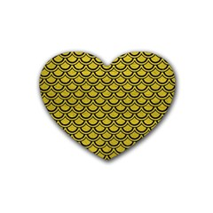 Scales2 Black Marble & Yellow Leather Rubber Coaster (heart)  by trendistuff