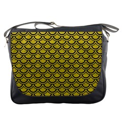 Scales2 Black Marble & Yellow Leather Messenger Bags by trendistuff